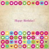 Birthday card with copy space - colorful heart template
