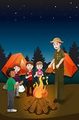 stock photo of bonfire  - A vector illustration of kids and their counselor having a bonfire in a summer camp - JPG