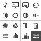 Settings icon set. Control icons. Vector illustration. Simplus series