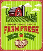 image of silo  - Vintage Farm Fresh Poster Design - JPG