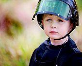 Little Boy in SWAT Helmet