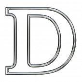 alphabet symbol D with chrome pipe outline