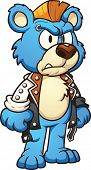 stock photo of mohawk  - Punk cartoon bear wearing a mohawk - JPG