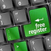 Free Register Computer Key Showing Internet Concept