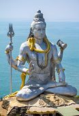 stock photo of karnataka  - Statue of Lord Shiva in Murudeshwar Temple in Karnataka - JPG