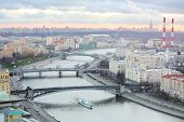 Bridge of Bogdan Khmelnitsky, Borodinsky bridge, Smolensky Metro Bridge on Moskva river in evening i