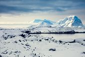stock photo of snow capped mountains  - Beautiful snow - JPG