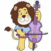 Cartoon Lion Playing A Cello