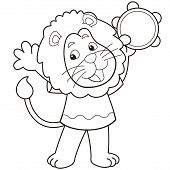 Cartoon Lion Playing A Tambourine