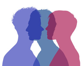stock photo of superimpose  - silhouette of young man and woman looking on each other and a shadow of another man superimposed on their silhouette symbol of woman - JPG