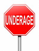 image of underage  - Illustration depicting a sign with an underage concept - JPG
