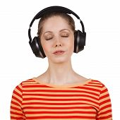 Girl With Eyes Closed Listening To Music