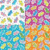 Seamless butterflies patterns (prints, backgrounds, wallpapers)