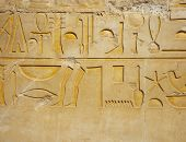 foto of hieroglyphs  - Detail of hieroglyph on wall of egyptian temple - JPG