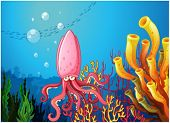 Illustration of an octopus under the sea near the colorful corals on a white background