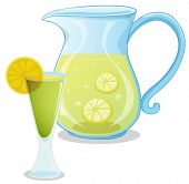 Illustration of a pitcher of lemonade on a white background