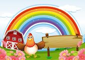 Illustration of a farm with an empty wooden board and a rainbow above