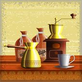 Set Of Coffee Mill, Turkish Cezve, Textile Bags And Small White Cup Standing On The Wooden Table Ove