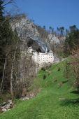 Looking Upwards To Predjama Grad In Slovenia