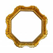 Old Golden  Picture Frame, Isolated On White Background