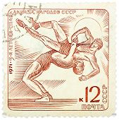 Stamp Printed In The Ussr (russia) Shows Wrestling With The Inscription And Name Of A Series