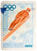 Stamp Printed In The Ussr Shows Ski Jumper, Series Honoring Olympics In Sapporo, Japan