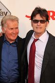Martin Sheen, Charlie Sheen at the AARP Movies For Grownups Premiere of