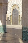 Oriental decorated gate Hassan II mosque Morocco