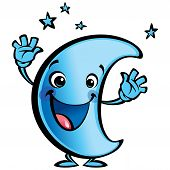 stock photo of goodnight  - Blue moon cartoon character making a good night gesture - JPG