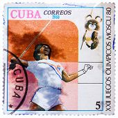 Stamp Printed In Cuba Shows Javelin Throwing, With Inscription And Name Of Series