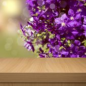 Summer Floral Background With Empty Wooden Table. Floral Summer Background.