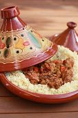 stock photo of tagine  - tagine with couscous  - JPG