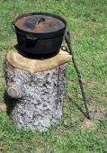 stock photo of dutch oven  - dutch oven sitting on a stump at a campsite - JPG