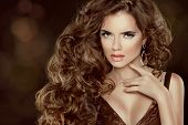Beautiful Brown Hair, Fashion Woman Portrait. Beauty Model Girl With Luxurious Wavy Long Hair Isolat