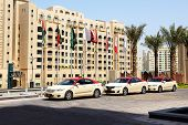 Dubai, Uae - September 9: The Dubai Taxi Cars Waiting For Clients Near Hotel, On September 9, 2013,