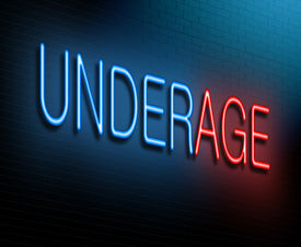 picture of underage  - Illustration depicting an illuminated neon sign with an underage concept - JPG