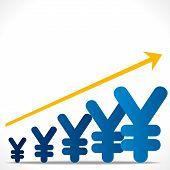 increase growth graph concept , or increase yen graph background vector