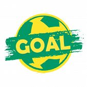 Goal Over Soccer Ball In Brazilian Colors
