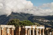 Ancient ruins of Pompeii and volcano Vesuvius Italy