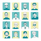 People Avatar Set Blue And Yellow