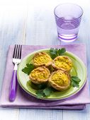 muffin with ricotta eggs and parsley