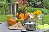 foto of crockery  - ingredients and crockery for breakfast in the garden - JPG