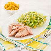 Poached Pink Salmon With Cabbage Salad