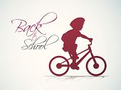 Illustration of a kid with schoolbag in bicycle on grey background with stylish text Back to School.