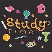 image of time study  - Stylish text Study Time on kiddish study symbols grey background - JPG
