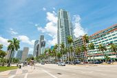MIAMI, USA - MAY 27, 2014 : Skyscrapers and traffic along Biscayne Boulevard in downtown Miami