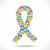 colorful people icon design AIDS symbol vector