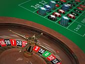 stock photo of roulette table  - 3d illustration of Roulette wheel  - JPG
