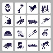 pic of sawing  - Lumberjack woodcutter icons set of wood log saw tree  isolated vector illustration - JPG