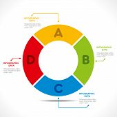 creative colorful number' 0' or alphabet 'O' info-graphics design